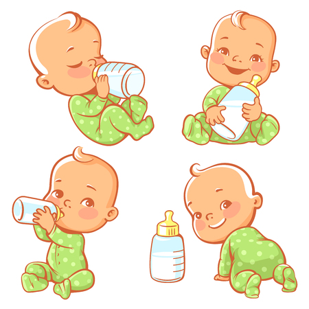 piccolo: Set with cute little baby with bottle of milk. Newborn baby in green pajamas drink milk. Baby nutrition. Feeding baby with formula or mothers milk. Happy child smile, crawl, sit. Vector illustration Stock Photo