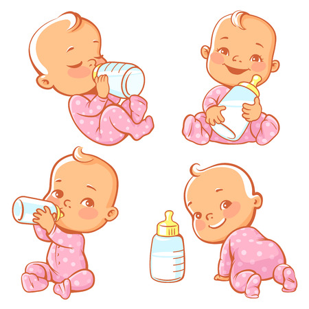 Set with cute little baby with bottle of milk. Newborn baby girl in pink pajamas drink milk.. Feeding newborn with formula or mothers milk. Happy toddler smile, crawl, sit, lie. Vector illustration.