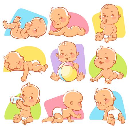 Set met schattige kleine baby in verschillende situaties. Spelen, slapen, zitten, liggen, kruipende baby. Happy lachende pasgeboren jongen of meisje. Vector illustratie. Stockfoto