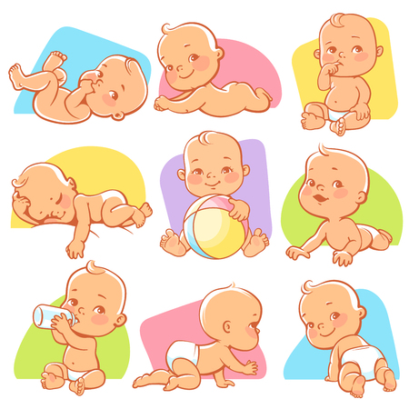 Set with cute little baby in different situations. Playing, sleeping, sitting, lying, crawling baby. Happy smiling newborn boy or girl. Vector illustration.