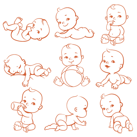 Set with cute little baby in diaper. Sleeping, eating, playing, crawling baby. Newborn girl or boy with bottle of milk. Happy child in different situations. Monochrome lineart vector illustration. Stock Photo