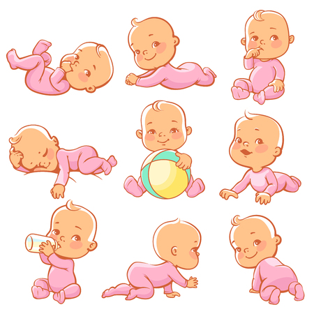 Set with cute little baby girl wearing pink pajamas. Baby sitting, crawling, eating, playing, sleeping. Little girl with bottle of milk. Smiling happy child wearing overalls. Vector illustration.