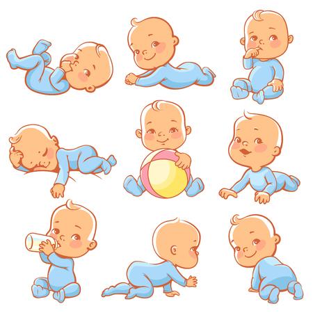 파란색 잠 옷을 입고 귀여운 작은 아기와 함께 설정합니다. 아기 앉아, 크롤 링, 식사, 재생, 자. 병 우유의 작은 소년. 작업 바지를 입고 행복 자식 웃