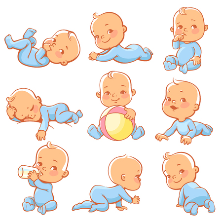 Set with cute little baby boy wearing blue pajamas. Baby sitting, crawling, eating, playing, sleeping. Little boy with bottle of milk. Smiling happy child wearing overalls. Vector illustration.