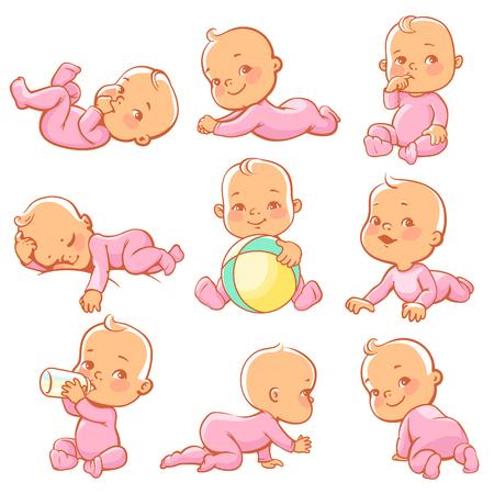 핑크 잠 옷을 입고 귀여운 작은 아기 소녀와 설정합니다. 아기 앉아, 크롤링, 먹고, 놀고, 자고. 우유 병 어린 소녀입니다. 작업 바지를 입고 행복 자식