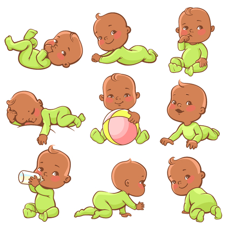latin american boys: Set with cute little african american baby. Ethnic boy or girl wearing green jumpsuit. Baby sleeping, sitting, crawling, playing, drinking milk, smiling. Vector illustration. Stock Photo