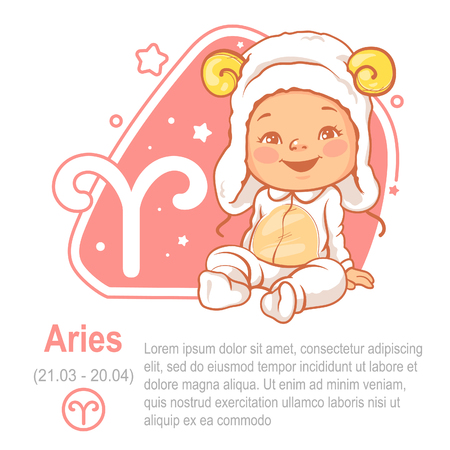 Childrens horoscope icon. Kids zodiac. Cute little baby as Aries astrological sign. Funny animal costume. Colorful vector illustration with text template. Astrological symbol as cartoon character.