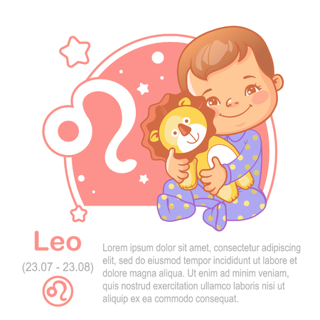 Childrens horoscope icon. Kids zodiac. Cute little baby boy or girl as Leo astrological sign. Vector illustration. Kid in pajamas with plush toy lion. Astrological symbol as cartoon character.