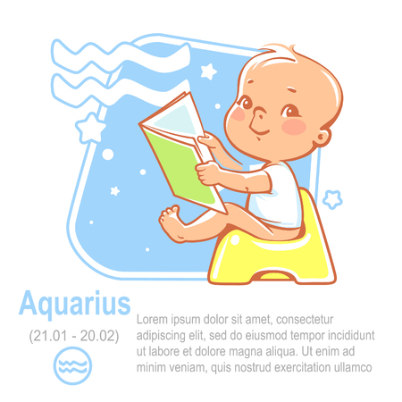 Childrens horoscope icon. Kids zodiac. Cute little baby boy or girl as Aquarius astrological sign. Colorful vector illustration. Baby sit on potty. Astrological symbol as cartoon character.