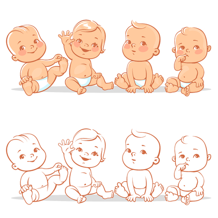 happy: Cute little babies in diaper sitting together. Happy children. Girls and boys smiling waving hands. Vector illustration isolated on white background.