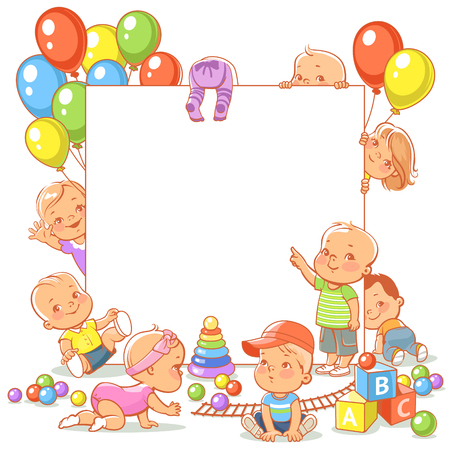 Cute little babies with toys. Happy children play, stand, sit, crawl, sleep, waving hand. Boys and girls holding white banner. Active toddlers. Colorful vector illustration. Illustration