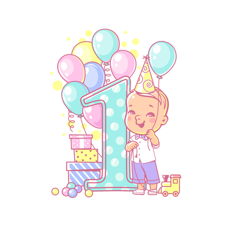 One year boy standing near large number 1. First year celebration. Little boys birthday party. Cute toddler boy wearing bow tie. Air balloons, gifts, toy, bright color. Vector illustration.