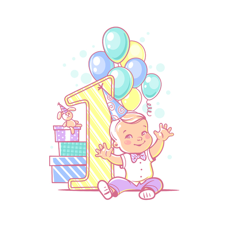 One year boy sitting near large number 1. First year celebration. Little boys birthday party. Happy boy wearing a bow tie and white shirt. Air balloons, gifts, garland. Colorful vector illustration.