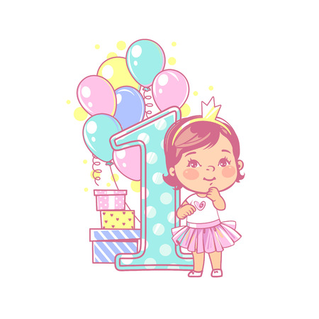 One year girl standing near large number 1. First year celebration. Little girls birthday. Cute toddler girl wearing tutu skirt. Air balloons, gifts, crown, bright color. Party. Vector illustration.