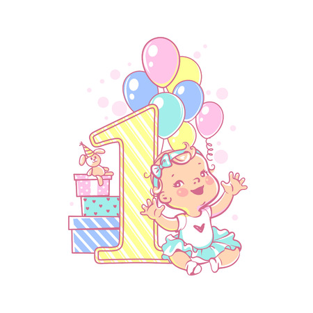 Little girl lay near large number one. Babys first year symbol. Toddlers birthday party. Happy smiling girl wearing tutu. Air balloons, festive garland, gift boxes. Vector illustration. Illustration
