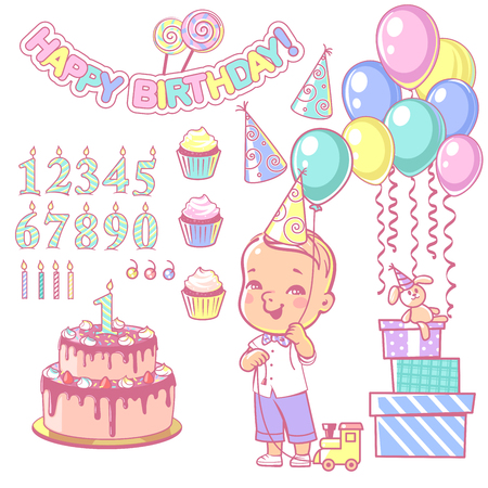 Birthday party decoration set. Cake and cupcakes constructor with set of numbers, candles, gifts, garland, air balloons. Design elements. Toddler boy wearing bow tie. Vector illustration.