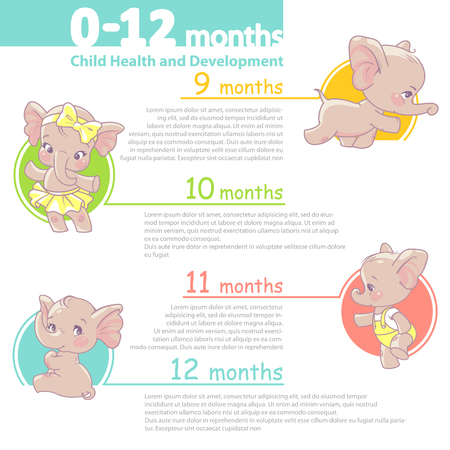 Set of baby health and development icon. Infographic of baby growth from newborn to toddler with text. First year. Cartoon elephant as girl of 0-12 months. Design template. Vector illustration.