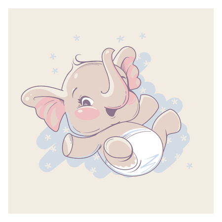 Cute little newborn baby elephant girl lying on back. Cartoon character of baby girl of 1 - 6 months old, wearing diaper. Happy laughing toddler. Pastels color vector illustration.