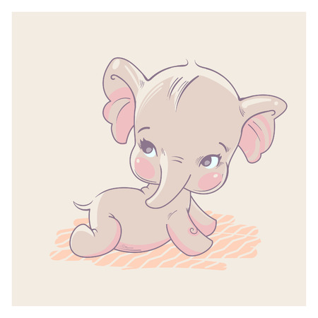 Cute little baby elephant lying on stomach, learn to crawl. Baby girl of 3-9 months. Pastels color vector illustration. Illustration