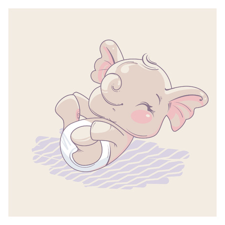 Cute little newborn baby elephant girl lying on back hold legs in hands. Cartoon character of baby girl of 1-6 months, wearing diaper. Happy laughing toddler. Pastels color vector illustration.