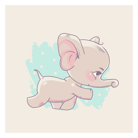 Cute little newborn baby elephant girl learning to walk. Cartoon character of baby girl of 3-9 months. Happy smiling toddler. Pastels color vector illustration. Illustration