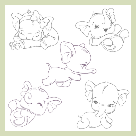 Cute little baby elephant girl. Set with baby illustrations from birth to one year old. baby growth from newborn to toddler. Child activity first year. Black and white outline illustrationCute boy or girl of 0-12 months.