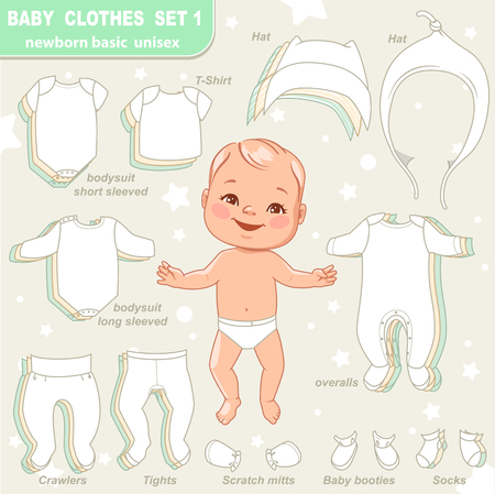 Cute little baby in diaper as paper doll. Vector set of basic clothes for newborn isolated. Three unisex colors. Hat, t-shirt, overalls, romper, bodysuit, boots. Vector illustration.