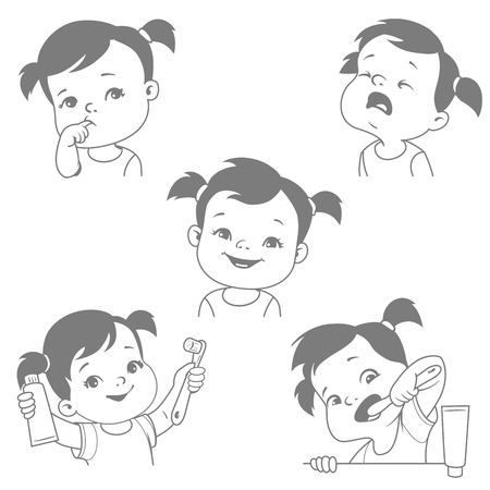 Baby teeth set with tooth brush and paste. Baby crying for toothache, healthy teeth. First teeth, smiling child holding product vector illustration. Illustration