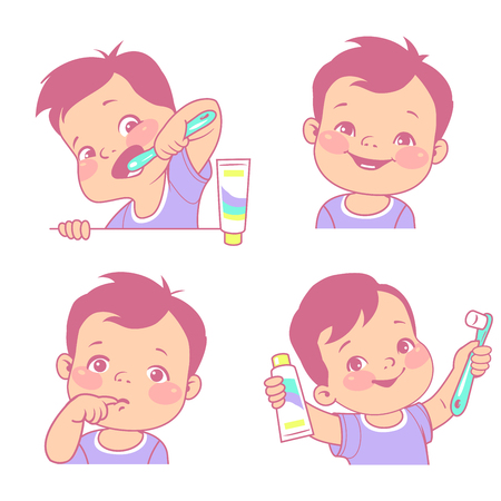 Baby teeth set. Little boy with tooth brush and toothpaste. Happy smiling child with healthy teeth, Sad kid feel toothache. Logo  emblem for medicine or hygiene product. Vector illustration. Illustration