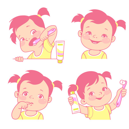 Baby teeth set. Little girl with tooth brush and toothpaste. Happy smiling child with healthy teeth. Sad kid feel toothache. Logo  emblem for medicine or hygiene product. Vector illustration. Illustration