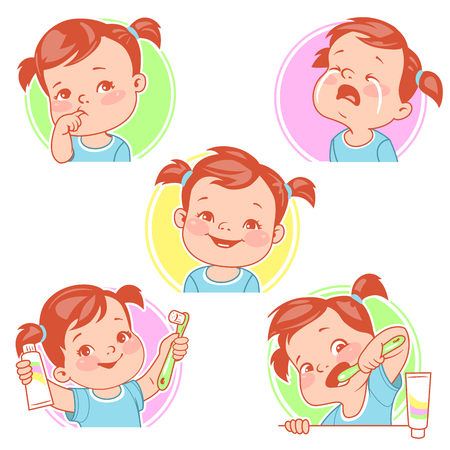 Baby teeth set. Little baby girl with tooth brush and toothpaste. Teething. Toothache. Baby crying for pain. First tooth. Happy baby smile. Healthy teeth. First year. Hygiene. Vector illustration.