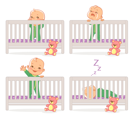 Little baby in crib. Baby boy stand in his bed. kid with different emotions. Scared, curious, crying, happy child. Sleeping at night. Time before sleep. Vector illustration. Ilustracja