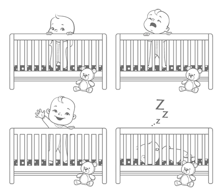 Little baby in crib. Baby boy stand in his bed. kid with different emotions - Scared, curious, crying, happy child.   Monochrome vector illustration.