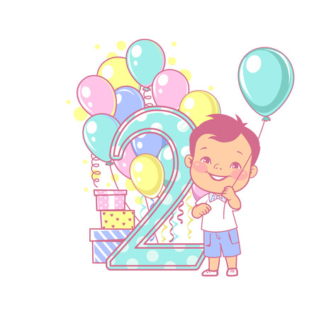 Two years old boy standing near large number 2. Second year celebration. Little boys birthday. Cute boy wearing bow tie. Air balloons, gifts, party, bright color. Vector illustration.