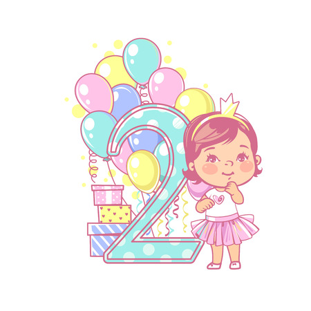 Young girl standing near large number 2 with balloons and gifts