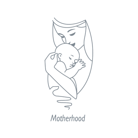Mother and child lane icon, symbol of baby care. Family, health and medicine emblem. Design template for your product vector monochrome icon illustration.