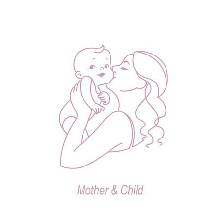 Mother and child line logo. Symbol of baby care. Family, health and medicine emblem. Design template for your product. Vector monochrome icon illustration.