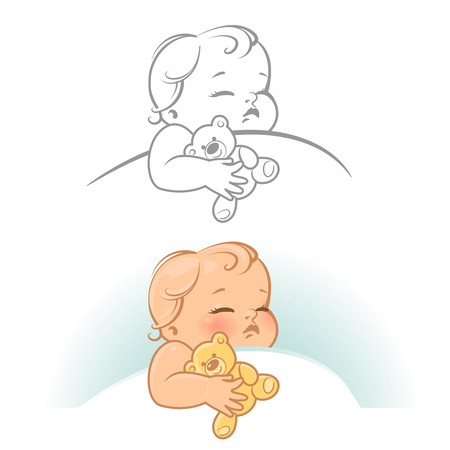 cute little sleeping baby. Baby girl in bed at night. Teddy bear in hands. Line art monochrome and color vector illustration. Illustration