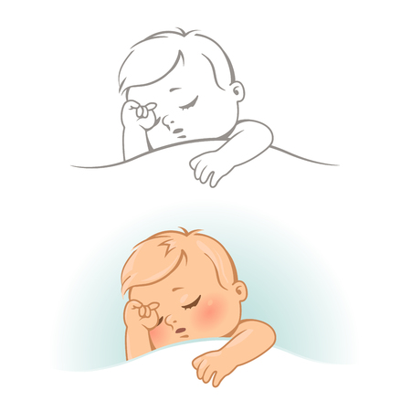 Set with cute little sleeping baby. Line art monochrome and color vector illustration.