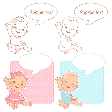Baby shower set. Cute baby wave hand say hello mom or dad. Its a boy, its a girl card. Color and monochrome outline vector illustration. Illustration