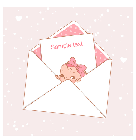 Baby shower card. Cute little baby girl in an envelope.