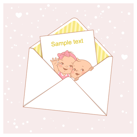 Twin baby shower card. Cute little twins in envelope. Baby girl and boy. Little newborn brother and sister. Siblings. Design template. Vector illustration.