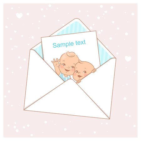 Twin baby shower card. Cute little twins in envelope. Two baby boys. Little newborn brothers. Siblings. Design template. Vector illustration. Vectores