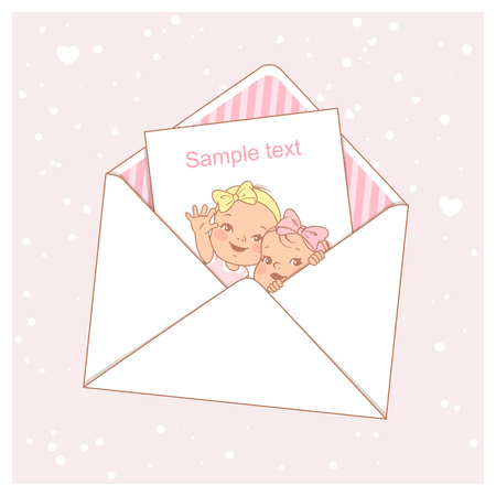 Twin baby shower card. Cute little twins in envelope. Itwo baby girls. Little newborn sisters. Siblings. Design template. Vector illustration.