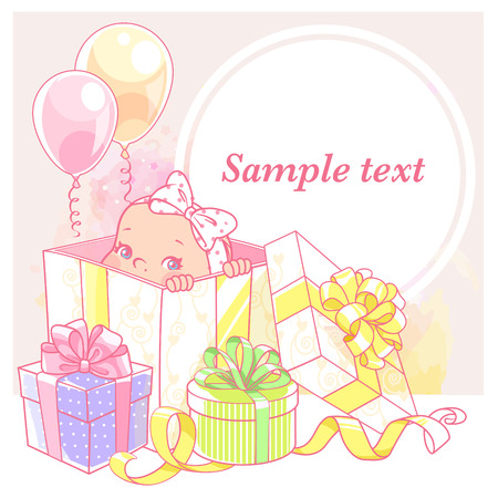 Cute little baby in a gift box. Box with a present, Baby shower card. Newborn baby girl with a bow. Vector illustration