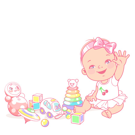 cute little baby girl say hello. Greeting baby. Happy smiling child play wave hands. Child's toys. Preset for blog. Template for mother's page in social media. Vector illustration.