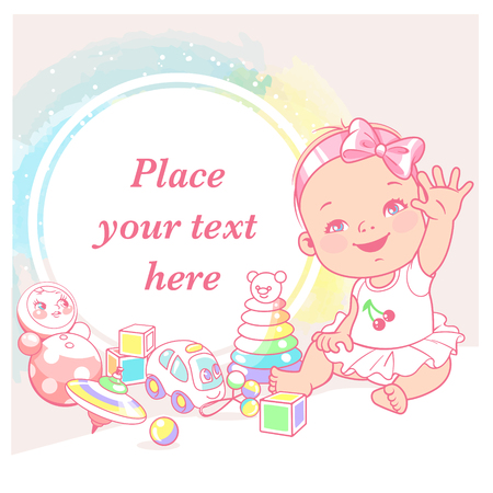 cute little baby girl say hello. Greeting baby. Happy smiling child play wave hands. Childs toys. Preset for blog. Template for mothers page in social media. Vector illustration.