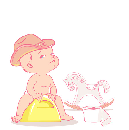 Cute baby  on potty. Kid wear cowboy hat. horse rocking chair. Potty training, Child learn to use potty, Baby pretend cowboy, with toy horse. Preset for moms blog. Template for  page. Illustration