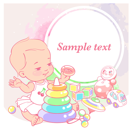 cute little girl with pyramid. Baby with toys. Happy smiling toddler sit, play, hold toy. Physical, intellectual development. Preset for blog. Template for moms social media. Vector illustration.