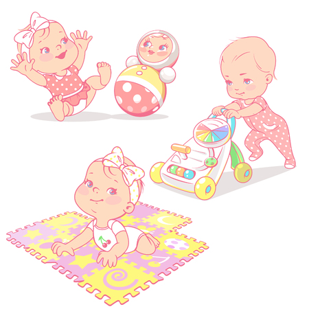 Set with different toys isolated. Baby girl playing with tumbler toy, playing mat, walker. Active toddler. Baby development. One year girl. Preset for mothers blog. Design template. Vector illustration.